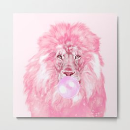 Lion Chewing Bubble Gum in Pink Metal Print