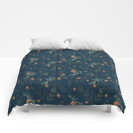 The floral style pattern on a blue background . Comforters