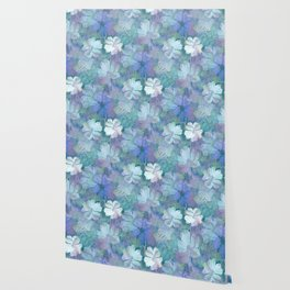 Painterly Midnight Floral Abstract Wallpaper
