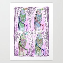 Cockatiels bird pattern design Art Print