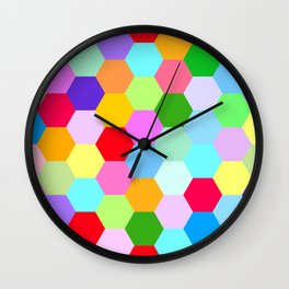 Multicoloured Hexagon Pattern Wall Clock