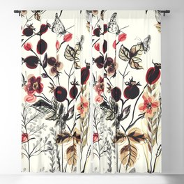 Watercolor autum berries and foliage Blackout Curtain
