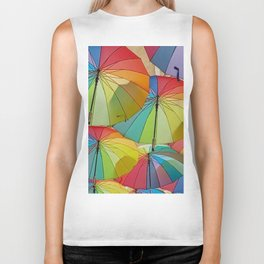 Colored Umbrellas Biker Tank
