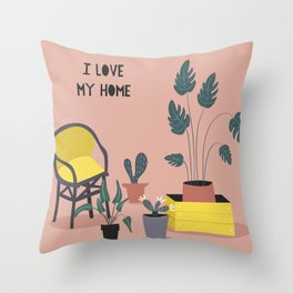 I Love My Home Throw Pillow