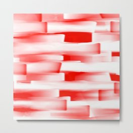 Red and White Abstract Art Metal Print