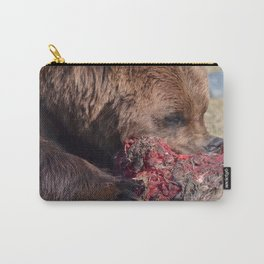 Hungry Alaskan Grizzly Bear - Eating Raw Meat Carry-All Pouch