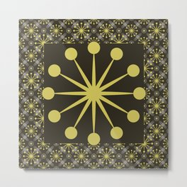 Starburst and Lines Mid Century Earth Colors Metal Print