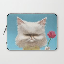 A cat holding a flower Laptop Sleeve