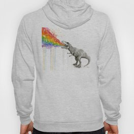 T-Rex Dinosaur Rainbow Puke Taste the Rainbow Watercolor Hoodie