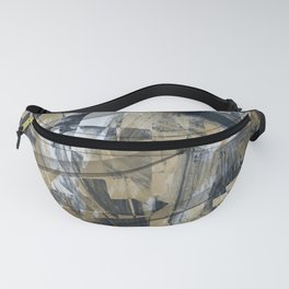 Black and Wheat Abstract Fanny Pack