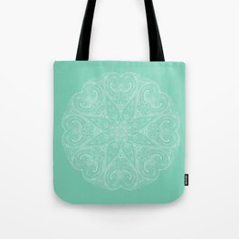 Mandala White and Green Tote Bag