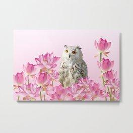 Grey Owl Lotos Flower Blossoms #lotus #owl Metal Print