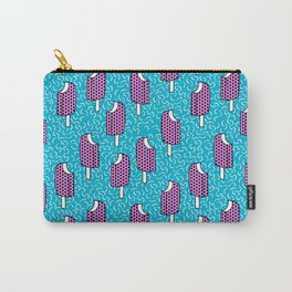 Bite Me - popsicle throwback 80s style memphis dots pattern trendy hipster summer ice cream Carry-All Pouch