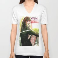 valentina V-neck T-shirts featuring VALENTINA by Rayane Guedes XII