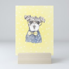 Schnauzer Dog Hipster Pup Mini Art Print