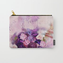 Vintag Bicycle and Flowers Carry-All Pouch
