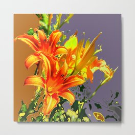 Serene Orange Daylilies Grey-Brown Abstract Metal Print
