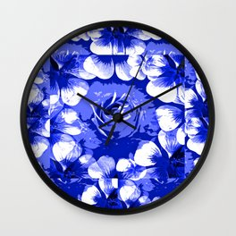 Roses Blue and White Toile #2 Wall Clock