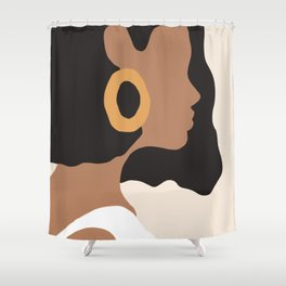 Lovely girl - Muted palette - Modern abstract hand drawn art Shower Curtain