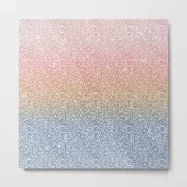 Girly Blush Rose Gold Blue Ombre Glitter Sparkles Metal Print
