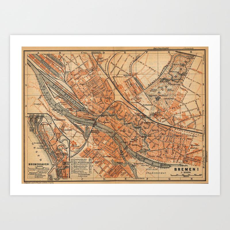 Map Of Bremen Germany.Vintage Map Of Bremen Germany 1910 Art Print