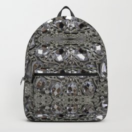 girly chic glitter sparkle rhinestone silver crystal Backpack