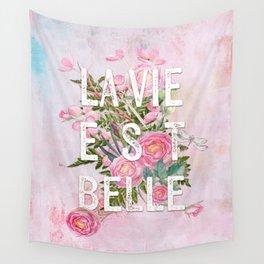 LAVIE EST BELLE - Watercolor - Pink Flowers Roses - Rose Flower Wall Tapestry