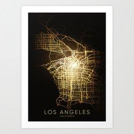 los angeles California usa hollywood city night light map Art Print