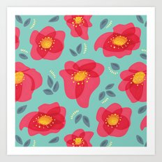 Pretty Flowers With Bright Pink Petals On Blue Art Print