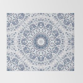 Grayish Blue White Flowers Mandala Throw Blanket