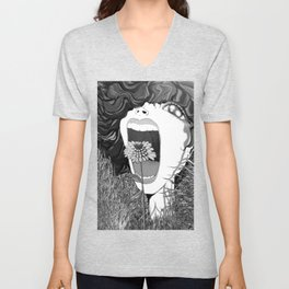 The Girl who Screams and Cries (L'war) II Unisex V-Neck