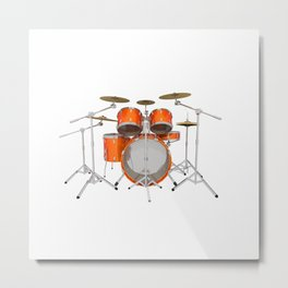 Orange Drum Kit Metal Print