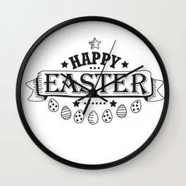 Happy Easter Design Holiday Gift Cute Women Men Kids Wall Clock