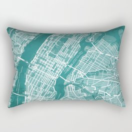 Turquoise Teal Wall Art Showing Manhattan New York City, Brooklyn and New Jersey Rectangular Pillow