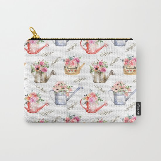 Garden watering cans and flowers. Vintage pattern Carry-All Pouch