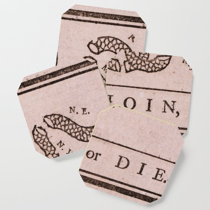 Original Join Or Die Benjamin Franklin Political Cartoon Coaster By Thearts Society6