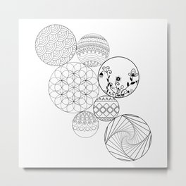 Mandalas, circles and flowers Metal Print