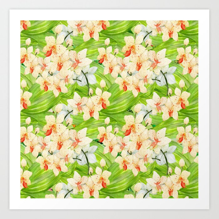 Tropical Floral Orchid Flower Pattern - Flowers on #Society6 Art Print