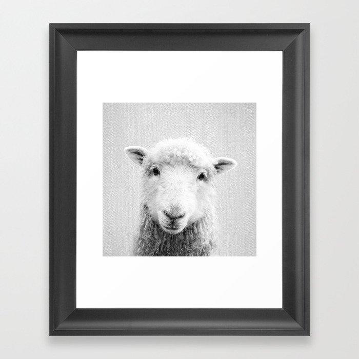 Sheep - Black & White Gerahmter Kunstdruck
