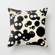 Cute Susuwatari Infestation Throw Pillow
