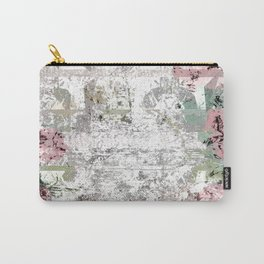 Shabby Chic White Washed Roses Carry-All Pouch