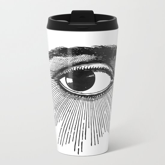 I See You. Black and White Metal Travel Mug