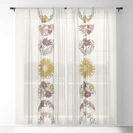 Floral Phases of the Moon Sheer Curtain