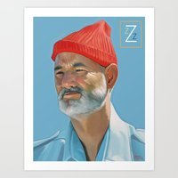 steve zissou Art Prints featuring Steve Zissou by Brad Collins Art & Illustration
