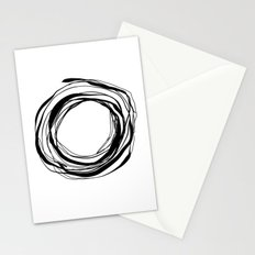 Abstract Line No.17 Black and White Stationery Cards