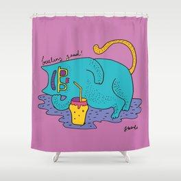 fatty cat Shower Curtain