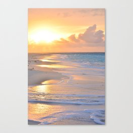 Foaming sea at the sunset - Turks and Caicos Islands - Fine Art Travel Photography Canvas Print