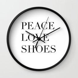 Peace Love Shoes Wall Clock