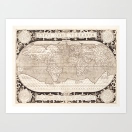 Typvs Orbis Terrarvm (World Map) by Abraham Ortelius (1628) Art Print