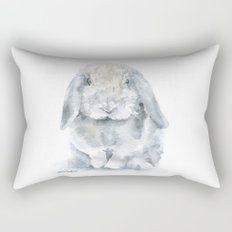 Mini Lop Gray Rabbit Watercolor Painting Rectangular Pillow